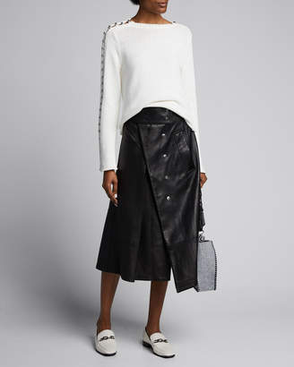3.1 Phillip Lim Embellished-Sleeve Boat-Neck Sweater