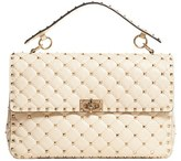 Valentino Rockstud Quilted Leather Shoulder Bag - White