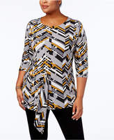 Alfani Plus Size Printed Asymmetrical Draped Top, Created for Macy's