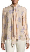 Michael Kors Tie-Neck Pleated-Sleeve Blouse, Nude/Wisteria