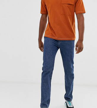 Asos Design DESIGN Tall original fit jeans with elasticated waist in flat mid blue