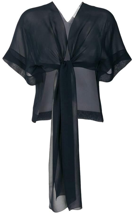 D-Exterior D.Exterior tie front sheer blouse