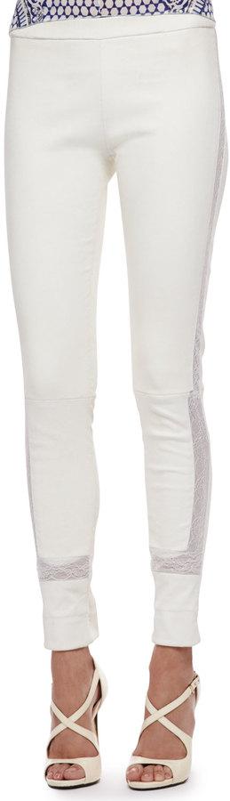 Roberto Cavalli Lace-Trim Leather Leggings, Milk