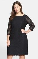 Adrianna Papell Lace Overlay Sheath Dress (Plus Size)