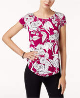 Alfani Petite Printed Shirttail Top, Created for Macy's