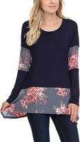 Celeste Navy Floral Color Block Tunic - Plus