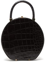 Sparrows Weave - The Round Wicker And Leather Bag - Womens - Black
