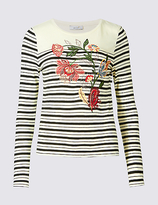 Per Una Pure Cotton Striped & Embroidered T-Shirt