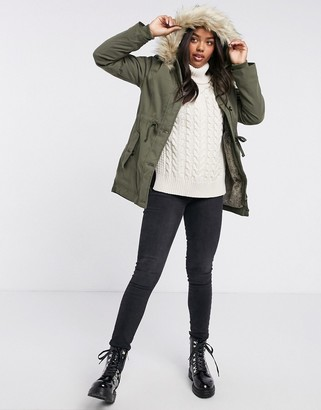 Hollister teddy lined parka jacket with faux fur hood in khaki