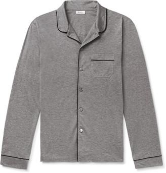 Schiesser Josef Piped Melange Cotton-Jersey Pajama Shirt