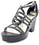 Lauren Ralph Lauren Raegan Women Open Toe Leather Black Platform Sandal.