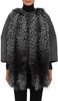 Barneys New York Women's Fur-Front Wool-Cashmere Coat-DARK GREY