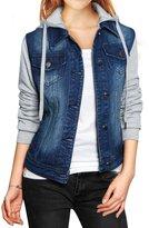 uxcell Allegra K Women Layered Hooded Denim Jacket w Pockets M