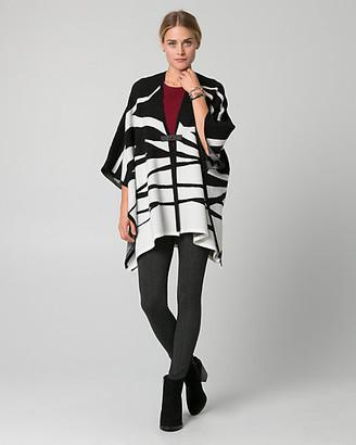 Le Château Zebra Print Viscose Blend Buckle Poncho