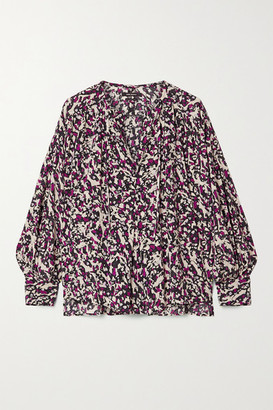 Isabel Marant Amba Printed Silk-blend Crepe De Chine Blouse - Purple
