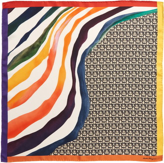 Salvatore Ferragamo The Gancini Rainbow Silk Scarf