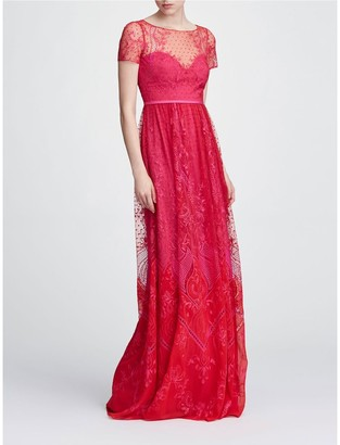 Marchesa Notte Short Sleeve Chiffon Tulle Gown