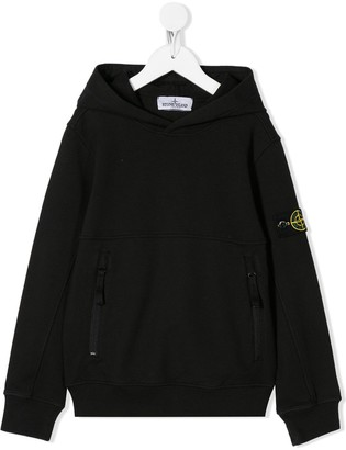 Stone Island Junior Long Sleeve Logo Patch Hoodie