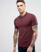 Asos Muscle Polo Shirt In Rosewood