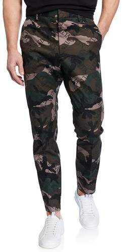 Valentino Men's Logo-Print Camo Tapered Trousers