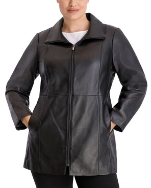Anne Klein Plus Size Zip-Front Leather Coat