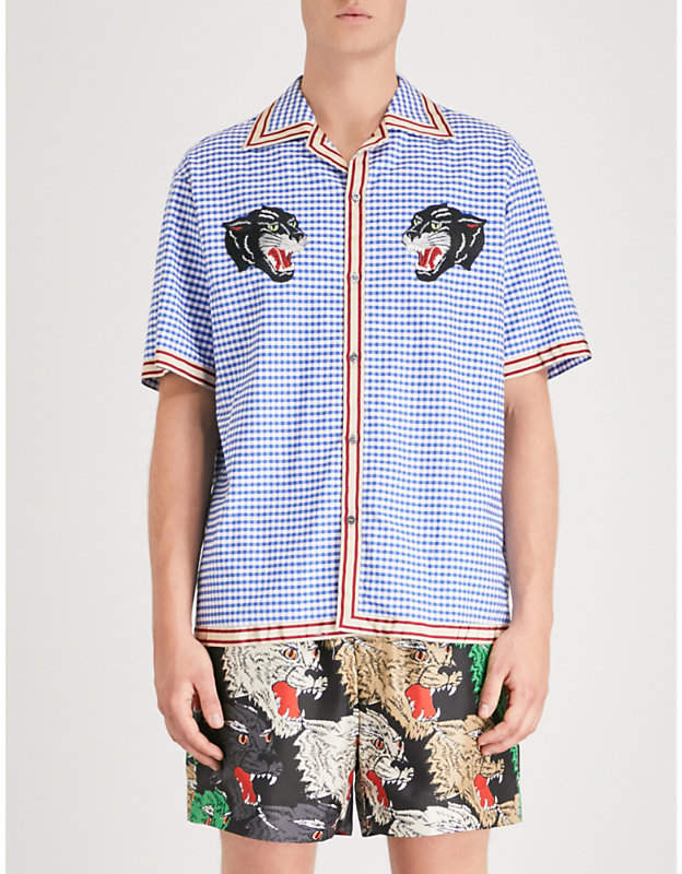 Gucci Panther-embroidered relaxed-fit cotton bowling shirt