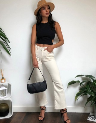 Selected cropped flare jeans in white