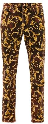 Versace Baroque-print Cotton-blend Jeans - Mens - Brown Gold