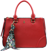 London Fog Red Triple-Compartment Lara Satchel