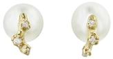 N+A New York Pearl With White Diamond Stud Earrings