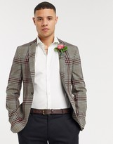 Asos Design DESIGN super skinny blazer in gingham burgundy check