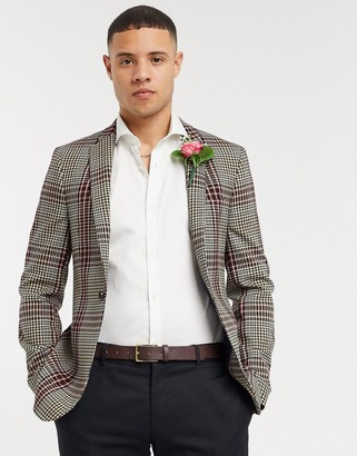 ASOS DESIGN super skinny blazer in gingham burgundy check