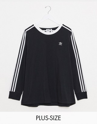adidas Plus logo three stripe crew neck long sleeve top in black