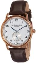 Stuhrling Original Men's 207.04 Classic Cuvette Decor Swiss Quartz Rose Tone Watch
