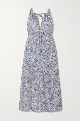 Victoria Beckham Floral-print Silk-twill Midi Dress - Blue
