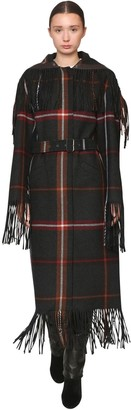 Salvatore Ferragamo Long Belted Check Virgin Wool Coat