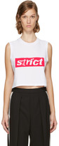 Alexander Wang White Sleeveless Crewneck Crop 'Strict' T-Shirt