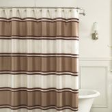 Bed Bath & Beyond Jardin Stripe 72-Inch x 72-Inch Fabric Shower Curtain in Taupe