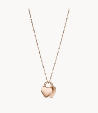 Fossil Duo Heart Rose Gold-Tone Stainless Steel Necklace jewelry JF03205791