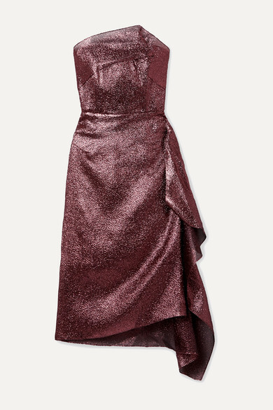 Thumbnail for your product : Roland Mouret Draped Metallic Textured-organza Dress - Blush