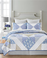 CLOSEOUT! Martha Stewart Collection 100% Cotton Blue Meadow Collector's Reversible Full/Queen Quilt