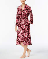 Miss Elaine Velour-Knit Floral-Print Robe