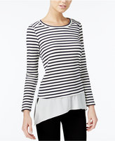 Bar III Striped Contrast Top, Only at Macy's