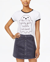 Mighty Fine Juniors' Ghost Costume Graphic Ringer T-Shirt