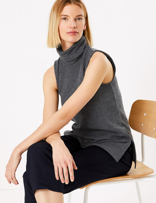 Marks and Spencer Cotton Rich Textured Sleeveless Vest