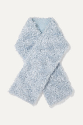 Miu Miu Reversible Mohair And Cotton-blend Faux Shearling And Wool Scarf - Sky blue
