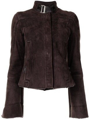 Gucci Pre-Owned Buckled Neck Suede Jacket