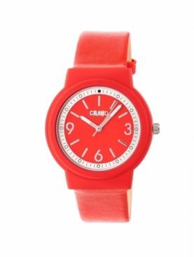 Crayo Unisex Vivid Red Leatherette Strap Watch 36mm