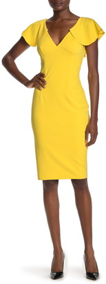 Marina Double V Flutter Sleeve Midi Dress