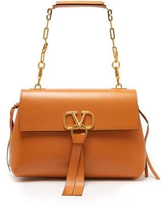 Valentino V-ring Medium Leather Shoulder Bag - Womens - Tan